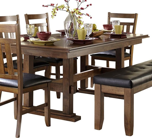 Homelegance kirtland double pedestal dining table in warm for Traditional dining table uk