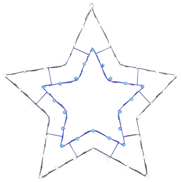 48x48 Blue And White 5pt Star C7 Wire Motif, Blue, White.