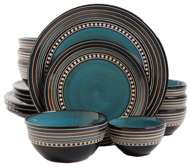 Gibson Elite Caf Versailles 16 Piece Double Bowl Dinnerware Set, Blue.