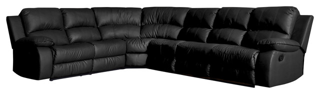 Black Sectional Couches classic large sectional sofa faux bonded leather with recliner end