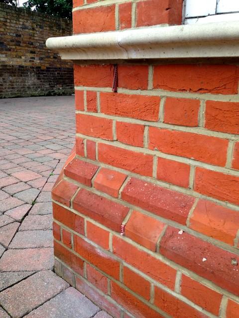 Exterior Plinth Blocks : Red brick plinth detail traditional exterior