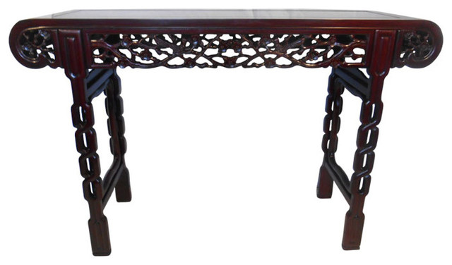 Exceptional Rosewood Chinese Altar Table With Deep Bird And Flower Carving  Asian Console Tables