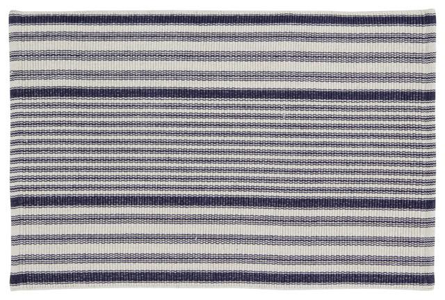 Handwoven Santorini Cotton Rug, Navy and Beige, 60x90 cm