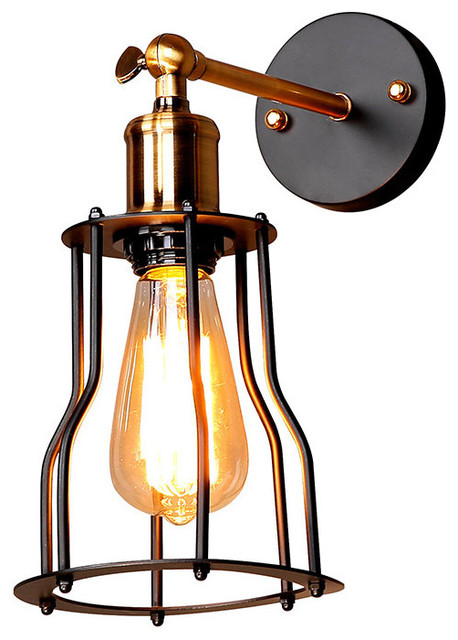 Rustic-Style Wall Sconce With Iron Cage, Matte Black