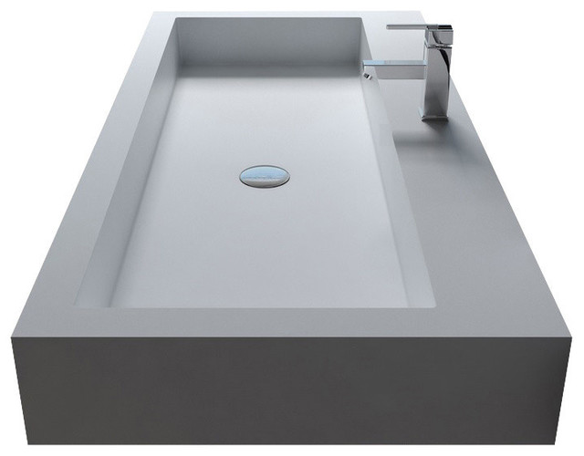 Adm Rectangular Countertop Sink, Glossy White, 60x21.