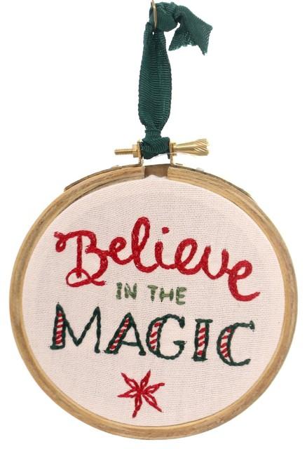 Christmas Believe Magic Hoop Fabric Stitchery Holiday 33116.