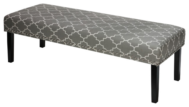Cortesi Home Farrah Bed Bench, Gray Fabric With Nailhead Trim.