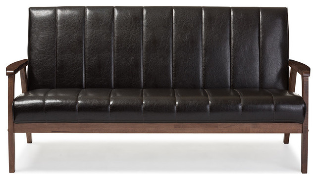Nikko Faux Leather Wooden 3-Seater Sofa, Dark Brown