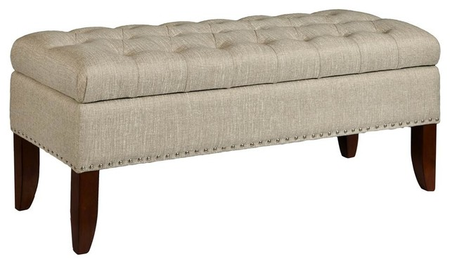 Hinged Top Button Tufted Storage Bed Bench, Lunar Linen.