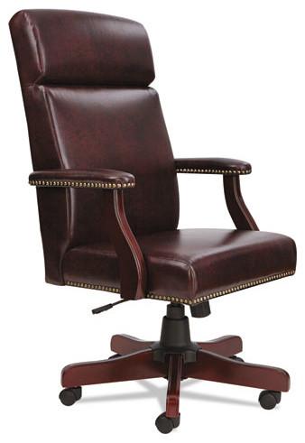 Alera Traditional Series High Back Chair Mahogany Finish