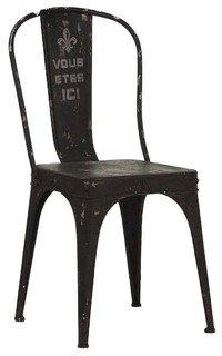 """""""Vous Etes Ici"""" French Iron Cafe Chair, Rustic Black"""