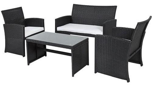 Black Resin Wicker 4 Piece Patio Furniture Set White Seat Cushions