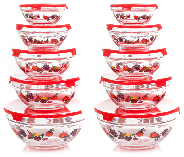 Glass Food Storage Containers And Lids With Multiple Bowl Sizes By Chef Buddy.
