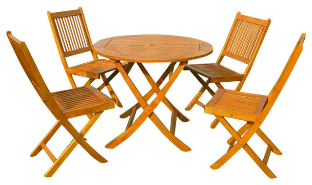 Royal Tahiti Marin 5 Piece Patio Dining Set Brown Stain Outdoor Sets By International Caravan