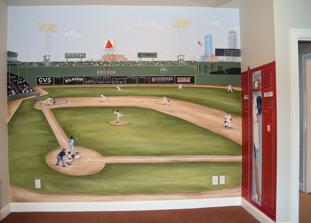 Sports murals traditional boston by macmurraydesigns for Baseball stadium mural wallpaper