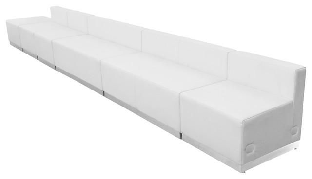 6-Piece Hercules Alon Series Leather Configuration, White.
