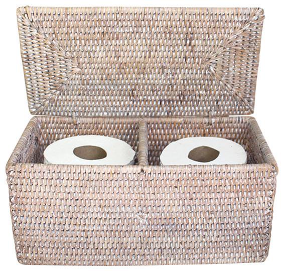 Rattan double toilet paper holder white beach style bathroom organizers by hudson vine - Beach toilet paper holder ...