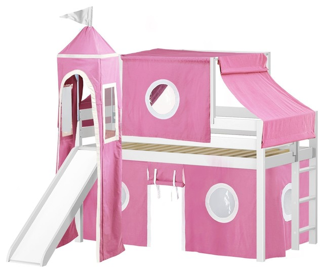 Jackpot Princess Low Loft Bed, White With Slide, Pink And White Tent And Tower.