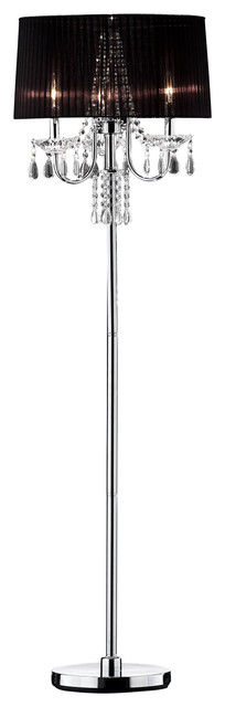 59.75 Tall Metal Floor Lamp W/ Silver Finish And Crystal Accents, Black Shade.