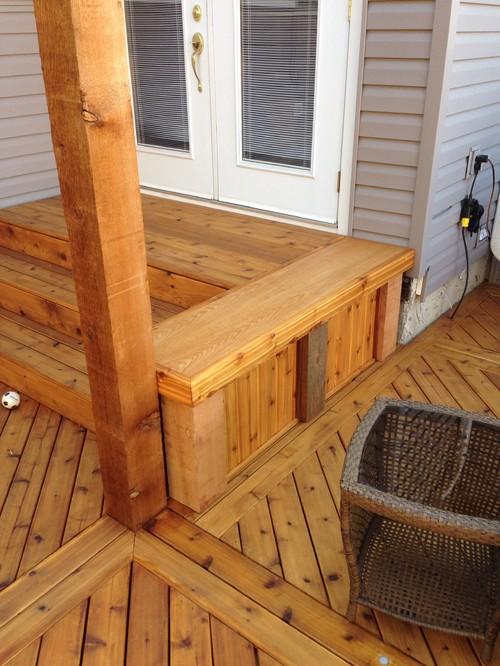 Cedar Bench Added To This Deck 6x6 Rough Cut Cedar Posts