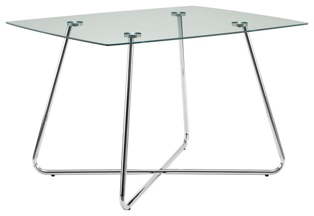"Dining Table With Chrome Base And Tempered Glass Top, 40""x40""."