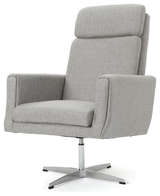 Contemporary Swivel Accent Chair Slate Gray: Hooper Modern Fabric Swivel Accent Chair