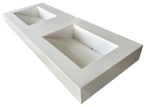 60  Double ADA Floating Concrete Bathroom Sink  White Linen  No Faucets    Wall. Shop Houzz   Trueform Concrete 60  Double ADA Floating Concrete