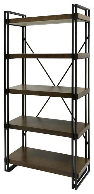 Industrial Design Mahogany Book Shelf, Dark Gun Metal Frame