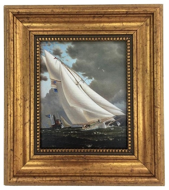 Petite Framed Sailing Ship Painting