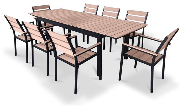 9 Piece Eco Wood Extendable Patio Dining Set, Weathered Brown