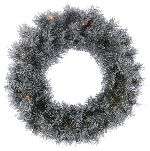"Frosted Brewer Pine Wreath With Clear Lights, 24""."