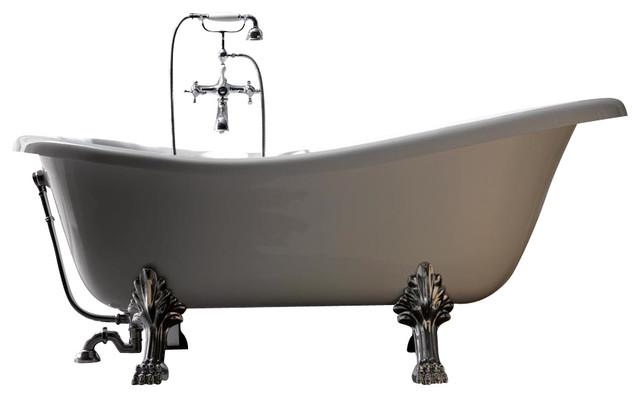 Retro 1051 Glass Resin Bathtub in White with Metal Feet - Contemporary - Bathtubs - by Modo Bath