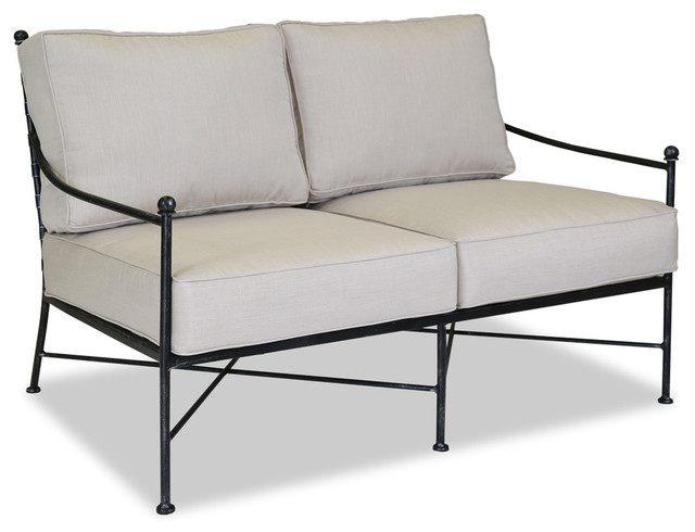 Provence Loveseat With Cushions, Canvas Flax Contemporary Outdoor Loveseats