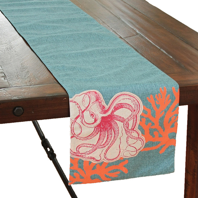 Genial Applique Octopus With Print Coral Coastal Table Runner, ...