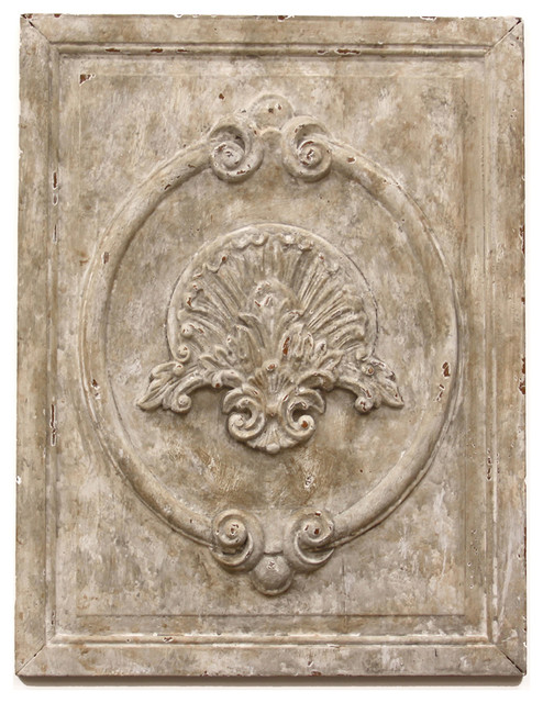 Maconnerie french country white carved wood wall panel traditional artwork by kathy kuo home - Wood panel artwork ...