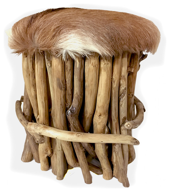 Teak Branch Stool With Fur Seat - Rustic - Vanity Stools And ...