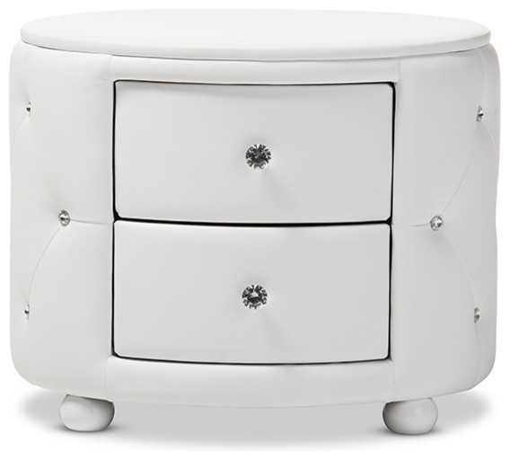 Davina Hollywood Glamour Oval 2-Drawer Faux Leather Upholstery Nightstand, White