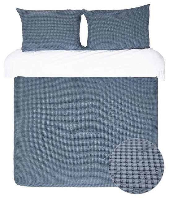 Squares Waffle Cotton Coverlet And Sham Set Blue Gray Industrial