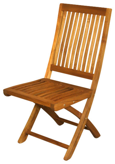 Garden Furniture Traditional solid teak folding outdoor patio garden beach chair - traditional