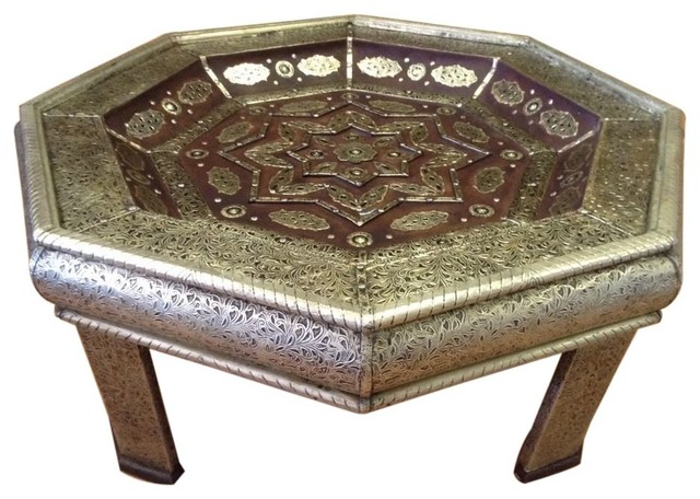 Moroccan Octagonal Center Table Silver Engraved Metal Leather Arabic Furniture