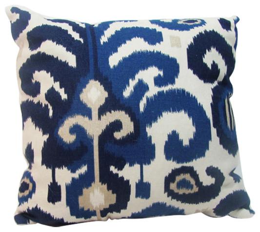 Blue Ikat Pillow Cover.