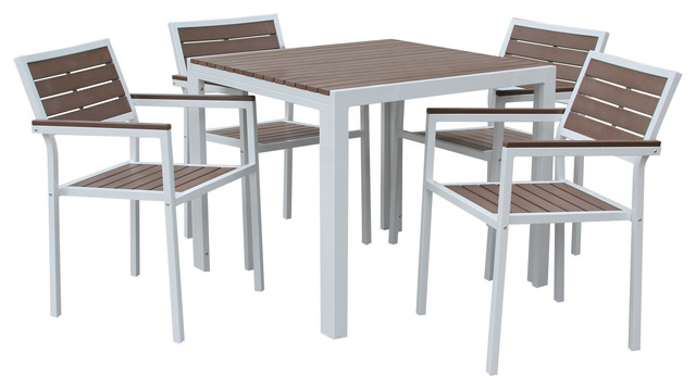 5 Piece Winston All Weather Outdoor Dining Set--White/bay Brown.