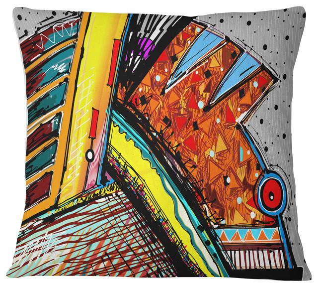 Colorful Abstract Illustration Contemporary Throw Pillow, 26\