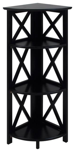 Montego 3-Shelf Corner Folding Bookcase With Mantel Top, Black