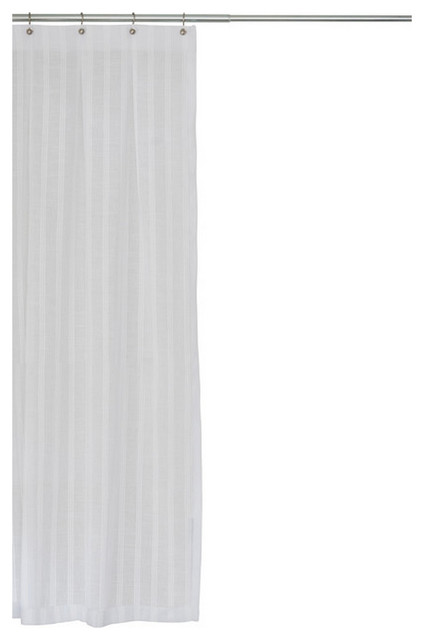 White Stripe Fabric Shower Curtain Extra Long Sizes