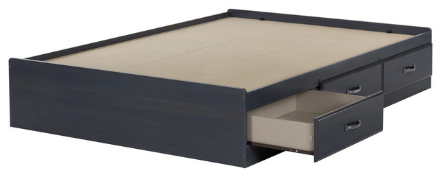 South Shore Ulysses Mates Bed With 3 Drawers, Blueberry, Full.