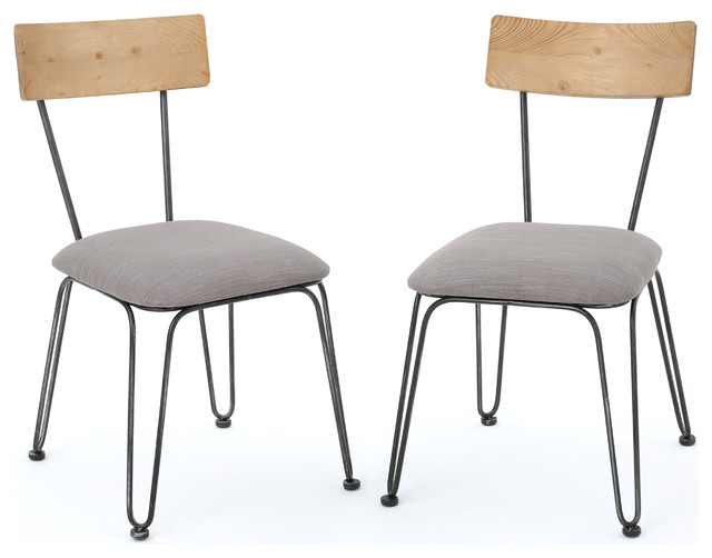 Shop houzz gdfstudio owen metal frame chairs cushion for Dining chairs metal frame