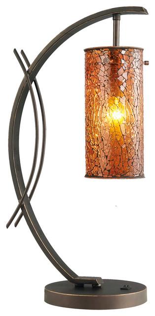 Eclipse Table Lamp, Amber Mosaic Glass, Metallic Bronze.