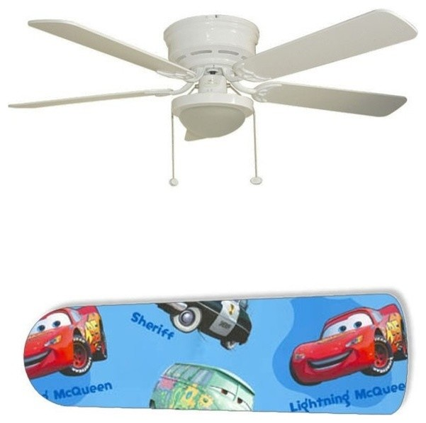 "Cars Mater And Lightning Blue 52"" Ceiling Fan With Lamp."