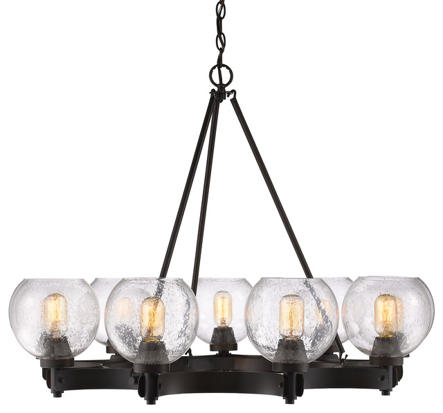 galveston 9light chandelier with seeded glass rubbed bronze
